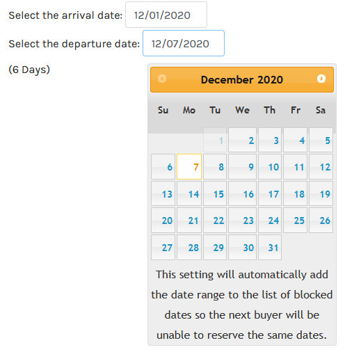 virtuemart calendar date Block Order Requested Date Range
