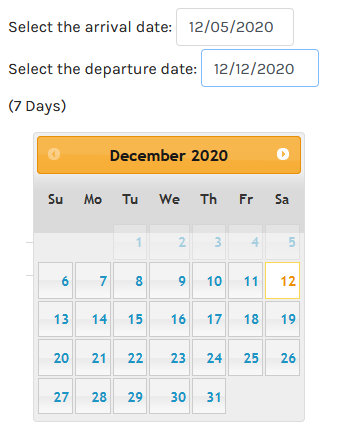 virtuemart calendar date Activate Reservation