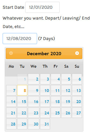 virtuemart calendar date End Date Title