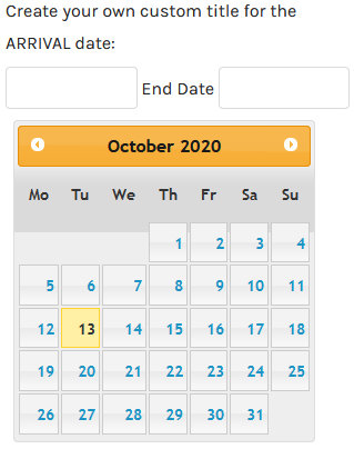 virtuemart calendar date Start Date Title